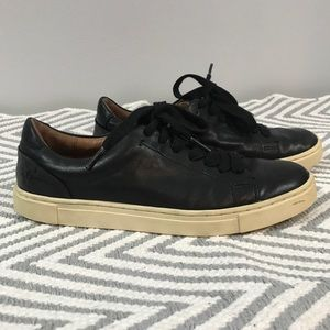 Frye Black Leather Lace Up Sneakers